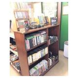 DVDs, VHS, CDs, & shelf unit