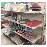 Coke trays & misc decor on 2 shelf units