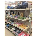 baseball & bike helmets, misc toys on 2 shelvses