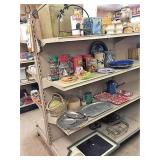 enamel ware & decor on 4 shelves