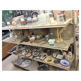 glassware & decore on 2 shelf sections