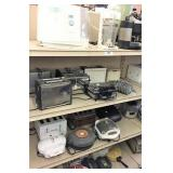 small appliances on 4 shelves