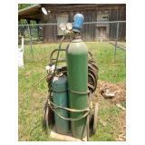 oxygen & acetylene bottles, torch, gauges & cart
