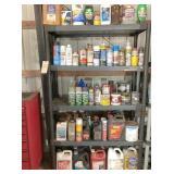 plastic shelf unit & contents, all the gallon cans