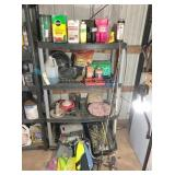 plastic shelf unit & contents.  Cans will average