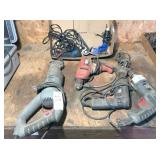 group of electric hand tools: saw, 3-drills & misc