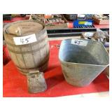 whiskey barrel, Galvanized bucket & cow bell