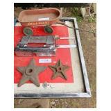 metal stars, Little Giant wagon, Plymouth chrome &