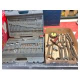 Case & Flat of drill bits & old tools