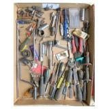 box of screwdrivers, sockets, ratchet & misc. tool