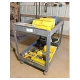 gray roll-a-round cart, nuts, bolts, misc. tools &