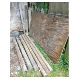landscape timbers, sheet plywood & iron pipe
