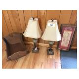2-lamps, doll cradle & picture