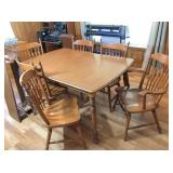 """table w/2-12"""" leafs, 2- captain chairs & 4- chairs"""