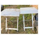 2-aluminum tables, totes, plastic tool box,