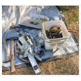 screws, level, hammers, metal dust pan &