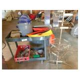 roll-a-round cart, display rack & 3-oil drip pans