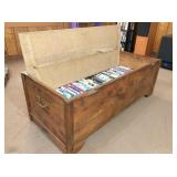 wood chest 43x19x15 H & DVD movies