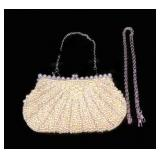 Beaded Faux Pearl Designer Cocktail Purse