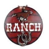 "23"" Round Metal Art Ranch Sign"