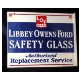 LIBBY OWENS FORD DS Porcelain Flange Sign