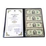 Uncut Sheet of Four 2009 $2 Bills