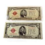 Two $5.00 1928 Series E and F Red Seal Notes