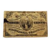 1863 Three Cents Fractional Currency Note