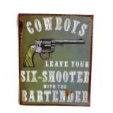 Tin Cowboy Sign
