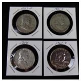 4 Ben Franklin Half Dollars