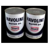 2 Vintage Cans of Texaco Havoline Motor Oil - Full
