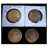 4 Circulated Peace Dollars