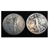2 Walking Liberty Half Dollars 1941 and 1946