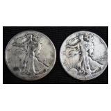 2 Walking Liberty Half Dollars 1941 and 1944