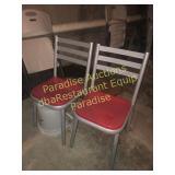 SET of Chairs - Gun Metal Gray Red Seat