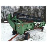 John Deere 920 Flex Head with trailer. SN: H00920F