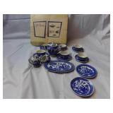 Blue Willow Mini Tea Set with Original Box