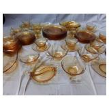 55 Pc Fostoria Fairfax Amber Glass Serving Set