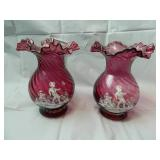 Pair of Cranberry Fluted  Vases with Cameos