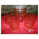 Pink Glass Pitcher and Glasses