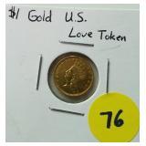$1 US Gold Love Token