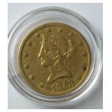 1853 $10 Gold Coin