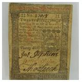 1773 20 Shillings Pennsylvania Note