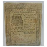 1775 20 Shillings Pennsylvania Note