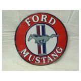 """12"""" Round Metal Ford Mustang Sign"""