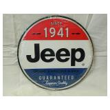 """12"""" Round Metal Jeep Sign"""
