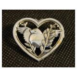 "Vintage 1.5"" Sterling Silver Heart Pin/Brooch"