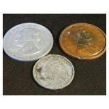 "3 Metal Souvenir Coins 2.25""-3"""