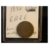 1870 2 Cent Coin Low Mintage