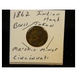 1862 Indian head Brass Token